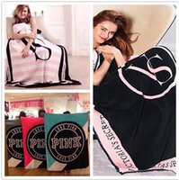 Wholesale Fleece Rug - Blanket 130*150cm VS Pink Letter Air conditioning Rugs Soft Coral Velvet Rug Beach Towel Blankets Comfortable Carpet sale