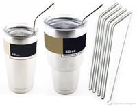 Wholesale Hot Cold Mugs - Hot 30oz Bent straight Straws for Neon Metallic Camo YETI Rambler Camouflage Yeti Cups Bilayer Color Insulation Mug Keep Drink Cold Mugs