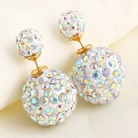 Wholesale Colored Ball Stud Earrings - Double Side Earring Fashion Jewelry Stud Earrings Full Of Rhinestone Ball For Women Candy Colored Small Fresh Top Quality E1437