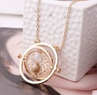 Wholesale Hourglass Necklaces - Free shipping Hot Sale Time Turner Necklace Hermione Granger Rotating Spins Gold Hourglass