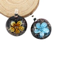 Wholesale Necklaces Glass Factory - Hot Sale Factory Price Flat Round Glass Pendants Inner Flower Necklace Lampwork Fused Glass Pendants 12pcs box, MC0034