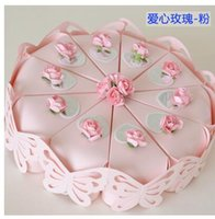 Wholesale Candy Pink Flowers - PASAYIONE Pink Red Purple Cake Shaped Candy Box With Flower Ribbon Decoration Party Sweet Favors Wedding Paper Candy Boxes
