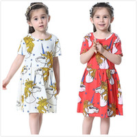 Wholesale Pony Skirt - Girls Princess Cotton Short Dress Baby Kids Short Sleeve Cartoon Little Pony Pleated Dress Children Babies Ruffles Clothes Dresses Skirts