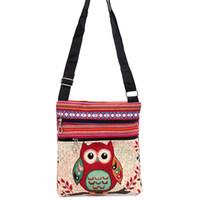 baykuş kanvas toptan satış-Tek omuz Tuval Baykuş Omuz Çantaları karikatür Rahat Messenger çanta Baykuş halk-özel Çizgili çanta XT