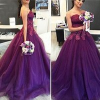 Wholesale Scalloped Sweetheart Tulle Ball Gown - Purple Prom Dress 2017 Sweetheart Appliqued with Lace Tulle A Line Vintage Formal Mermaid Evening gown for Graduation vestidos