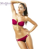 Wholesale Metal Chain Swimwear - Sexy Bandeau Strapless Bikinis Set 2017 Gold Metal Anchor Chain Swimwear Push Up Women Swimsuit Bathing Suits Beach Wear Bikinis FS1149