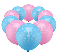 Wholesale Balloons Latex Printing - 10 PCS a set! 12 inch Blue & Pink Boy's & girl's 1st Birthday Printed Pearlised Latex Balloons Decor