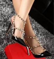 Stiletto Heel black gladiator shoes - Brand Women Pumps Wedding Shoes Woman High Heels Nude Fashion Ankle Straps Rivets Shoes Sexy High Heels Bridal Shoes Size