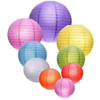 décoration d'événements de mariage chinois achat en gros de-12 '' (30cm) Mutil Couleurs Chinois Lanterne En Papier Soirée Événement Bars Décoration De Fête 20 couleurs lanterne