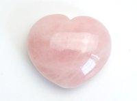 Wholesale heart shaped decorations home - Natural Tumbled Rose Quartz Carved Crystal Reiki Healing Love Puffy Heart Shaped Stone with a Free Pouch