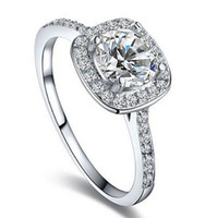 Wholesale Halo Cushion Cut Diamond Rings - Women Ring Elegant Inlaid Zircon Cushion Cut Halo Engagement Jewelry Wholesale Zircon Hearts And Arrows Diamond Ring Gold-Plated acc008
