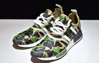 Wholesale Gray Canvas Fabric - Hot wholesale NMD purple green camo Men Women Casual running Shoes black gray Red yellow Blue red free shipping size USA 5 10