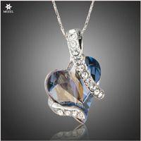 Wholesale Swarovski Blue Pendant - Wholesale MOZEL Swarovski Elements Forever Love Light Blue Heart Austrian Crystal Classic Pendant Necklaces for Valentine's Day Love Gift