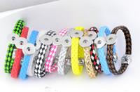 ingrosso i braccialetti di cuoio mescolano 12pcs-nuovi 12PCS assortiti mix pu cuoio delle donne Ginger 18mm bottoni a pressione pezzi charms bracciali gioielli fai da te