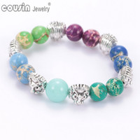 Wholesale Handmade Gemstone Bracelets - SZ0403 Fashion Jewelry Handmade High Quality Natural Stone Lion's Head Colorful Gemstones Beaded Bracelets for Women