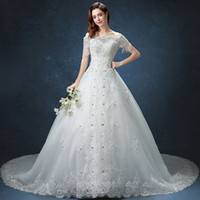 Wholesale Short Wedding Dress Long Tail - 2017 new Royal Princess long tail luxury embroidered Diamonds wedding dress
