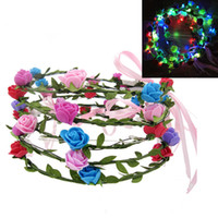 Wholesale Lighted Flower Garland - Led flash Garland light up Wreath Party Wedding Performance hair accessory Hair Band flowers headdress