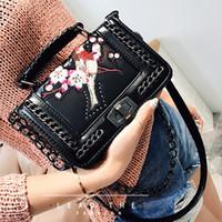 Wholesale Bird Locked - luxury handbags women shoulder bags designer sling chain bag famous brands women messenger bags flap Flower bird embroidered bag