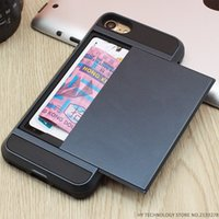 Wholesale iphone 5c s - Armor Phone Cases for iPhone 5S SE 5 5C 6 S 6S 7 Plus Luxury Shell Silicone Plastic Credit Card Holder Slide Wallet Case Cover