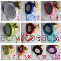 12mm Organza Ribbon Satin Cord Gift Embalagem Pingente Colares Roll Craft Bow para Wedding Supply Decor Colors 50Yards