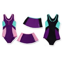 Wholesale Swimsuits For Big Girls - Big girls 2pc set swimwear kids sports training swimsuit skirt+bikini color Patchwork bathing suit for 4-14T