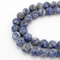 mavi kolye doğal taş toptan satış-4-12mm Yuvarlak Doğal taş boncuklar Mat Buzlu Nahcolite mavi nokta beyaz taş Gevşek boncuk Bilezik Kolye Takı Yapımı için