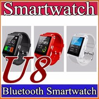 Wholesale Digital Phone Watch - 10X U8 Bluetooth Smart Watch Fashion Casual Android Watch Digital Sport Wrist LED Watch Pair For iOS Android Phone DZ09 GT08 Smartwatch A-BS