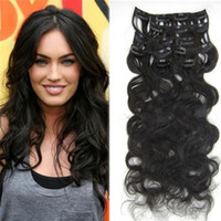 Wholesale High Lights Extensions - High quality clip in hair extensions Soft Natural blcak brazilian hair body wave Raw clip in human hair extensions
