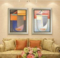 Wholesale Modern Face Oil Painting Canvas - 2pcs set Modern Oil Painting (No Frame) Abstract Face Shape Canvas Giclee Wall Art pictures for Living Room Home Decor