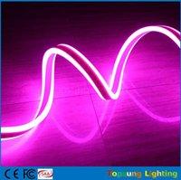 12v levou iluminação comercial venda por atacado-Carretel 20 m 8 * 18mm comercial rosa à prova d 'água IP75 dupla face emissor de luzes de néon led mini tira de néon flexível 12 V 24 V para a decoração