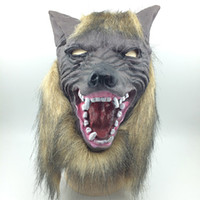 Wholesale Gray Masquerade Masks - High Quality Scary Masquerade Latex Party Mask New Party Halloween Latex Customized Overhead Latex wolf Mask