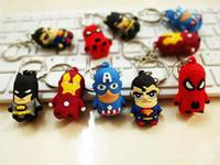 Wholesale 3d Pvc Keychain - The Avengers Captain American anime superhero spiderman batman Iron Man, Thor IRON MAN PVC keychain 3D 3-4cm figures key chain