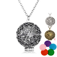 Wholesale Locket Pendant Bronze - Aromatherapy Locket Necklace Silver Bronze Plated with Madala Flower Shaped Pendant Oil Essential Diffuser Necklace for Women
