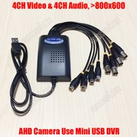 Wholesale Mobile Dvr Channel - Wholesale-4CH AHD Video 4CH Audio Input Mini USB AHD DVR 800x600 Mobile Video Capture Card 4 Channel HD Analog Camera UU DVR for 960P 720P