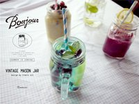 Wholesale cocktail drinks decoration - Wholesale Mason Jar Glass Cups with 2pcs Lids for Cold Drink Paper Straw Mason Cup Zakka 500ml Drinking Cups