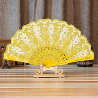 Wholesale Wholesale Peacock Silk Flower - Shining Peacock Design Hand Fans Chinese Hand Fan Party Wedding Cooling Fan Lace Silk Folding Hand Held Flower Stove Fan