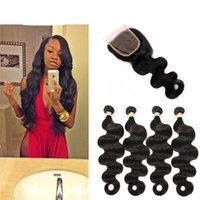 Wholesale Thick Bundle Brazilian Hair - Slove Brazilian Virgin Hair Loose Wave With Closure 4 Pcs Brazilian Hair Weave Bundles body Wave With Closure Thick Human Hair Weave