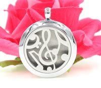 Bohemian pad plates - 1PCS Premium Aromatherapy Essential Oil Diffuser Necklace Locket Pendant music Alloy Jewelry with Chain and Washable Pads