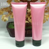 rosa plastiklotion flasche großhandel-Lotion-Creme-Plastikflaschen 100ML, 3.4OZ Hautpflege-Creme-Behälter-Rohr, leeres rosa weiches Rohr 100G X 50 für das Kosmetik-Verpacken
