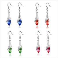 Wholesale Teardrop Swarovski Crystals - Charm Womens Crystal Teardrop Earrings Silver Tone Optional Color Swarovski Element Crystal Dangling Earrings Jewelry Dangling Earrings