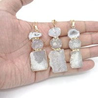 Wholesale Druzy Slice Pendant Gold - JLN Combined Slice Blue Druzy White Agate Gold Wrapped Pendant Necklace With Brass Chain Gemstone Jewelry For Gift