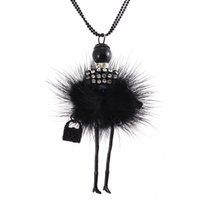 Wholesale Modern Designs Jewelry - Wholesale-Modern Design Doll Necklace Long Chain Pendant Rhinestone Necklaces Women Girl Crystal Bag Statement Jewelry Feather Fitting