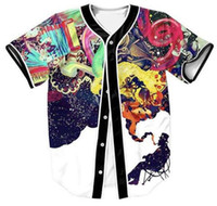 Wholesale Woman Abstract Shirts - Wholesale- Artistic Jazz Jersey 3D Multicolor Abstract Art Graffiti Man Smoking Space Shirt Women Men Clothing Tees Outerwear