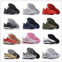 Wholesale Cheap Size 12 Women Shoes - Maxes 97 OG Metallic Gold Silver Bullet Running Shoes Cheap Fashion Men Women Triple Black White Sneakers Sports Shoes Size 36-46 US 12