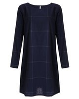 Wholesale Dreeses Woman - Korean Style New Arrival Plus Size Long Sleeve Plaid Loose Cotton Linen Womens Dress Spring Autumn Dreeses Girl Casual Tees Shirt Dress