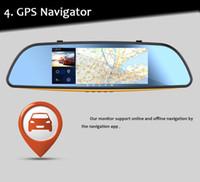"Wholesale Mirror Bluetooth Lcd - 7"" 1080P Android 4.4 WIFI GPS Rear View Mirror Monitor Dash Car Camera DVR Bluetooth"