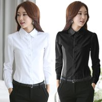 Wholesale Office Wear Tops Blouses - New Fashion Blouses Shirts Women White Shirt Office Lady OL work wear Long Sleeve Tops Slim Women's Blouses Shirts S-4XL casual blusas