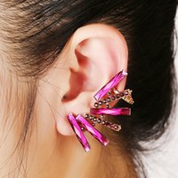 Barato Calcanhares Perfurados Cartilagem-XS Big Rose Red Rock Rhinestone Ear Cuff Wrap Brinco Piercing Ear Bones Clip Cartilage Mulheres Ball Party Statement Jewelry