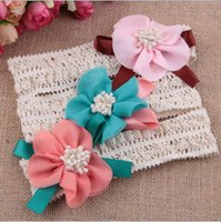 Wholesale Girls Fashion Hair Pieces Wholesale - Fashion children infant kids newborn Baby girl Accessories chiffon mini flower Head bands Hair Band Head Piece YH568