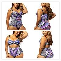 Wholesale Tribal Swimsuit - New arrival Extra size XL-4XL fat ladies bikini purple tribal printing high waist triangle split one piece swimsuit 41902